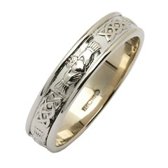 Claddagh & Celtic Knot White Gold Narrow Wedding Band
