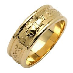 Claddagh & Celtic Knot Yellow Gold Wide Wedding Band