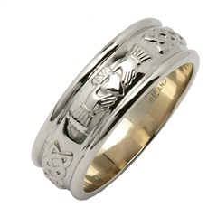 Claddagh & Celtic Knot White Gold Wide Wedding Band