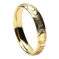 Claddagh Court Shape Yellow Gold Wedding Ring