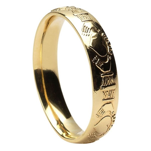claddagh court shape yellow gold wedding ring claddagh wedding rings rings from ireland. Black Bedroom Furniture Sets. Home Design Ideas