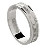 Claddagh White Gold Wedding Band - Ladies