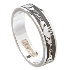 Claddagh Oxidized Silver Wedding Band