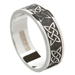 Lovers Knot Oxidized Silver Wedding Band - Gents