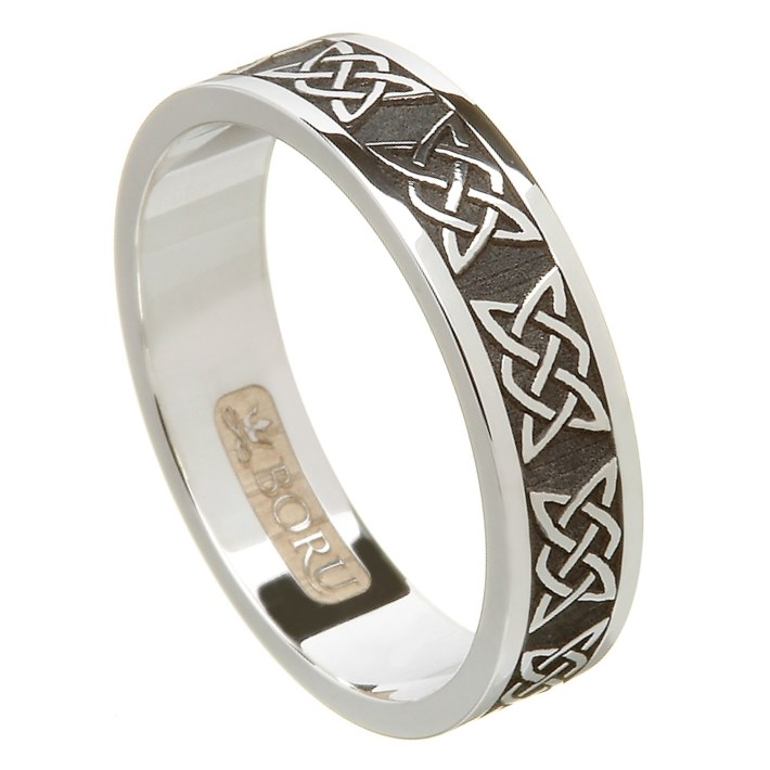 Lovers Knot Oxidized Silver Wedding Band