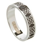 Lovers Knot Oxidized Silver Wedding Band - Ladies