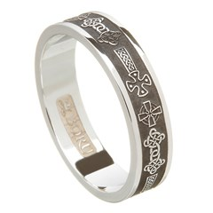 Celtic Cross Oxidized Silver Wedding Ring