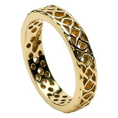 Pierced Celtic Knot Yellow Gold Wedding Ring