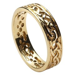 Filagree Celtic Yellow Gold Wedding Ring