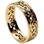 Filagree Celtic Yellow Gold Wedding Ring - Gents