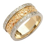 Celtic Closed Knot Diamond Pavé Yellow Gold Band