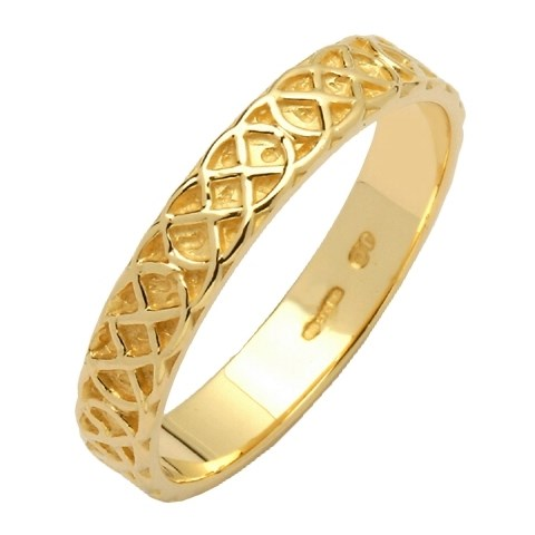Celtic Closed Knot Narrow Yellow Gold Wedding Band