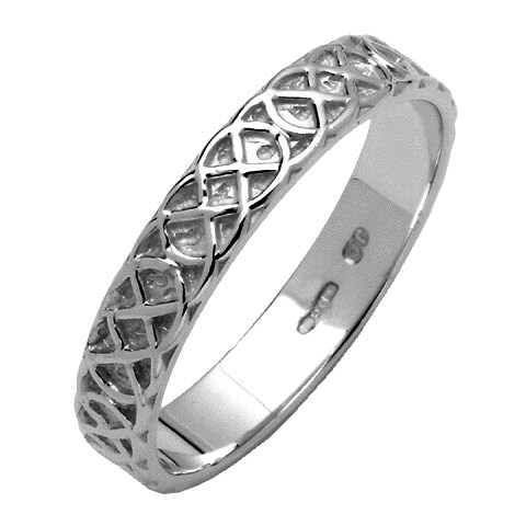 Celtic Closed Knot Narrow White Gold Wedding Band