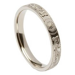 Ladies Celtic Warrior Narrow White Gold Wedding Band