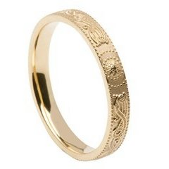 Ladies Celtic Warrior Narrow Yellow Gold Wedding Band
