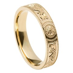 Ladies Celtic Warrior Yellow Gold Wedding Band