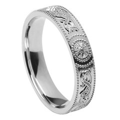 Ladies Celtic Warrior White Gold Wedding Band