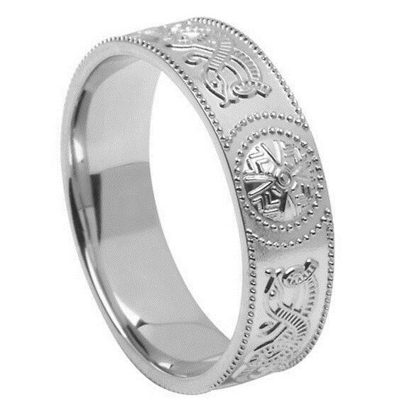 Gents Celtic Warrior White Gold Wedding Band