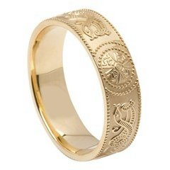 Gents Celtic Warrior Yellow Gold Wedding Band