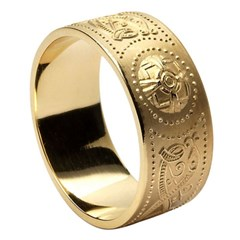 Gents Celtic Warrior Wide Yellow Gold Wedding Band