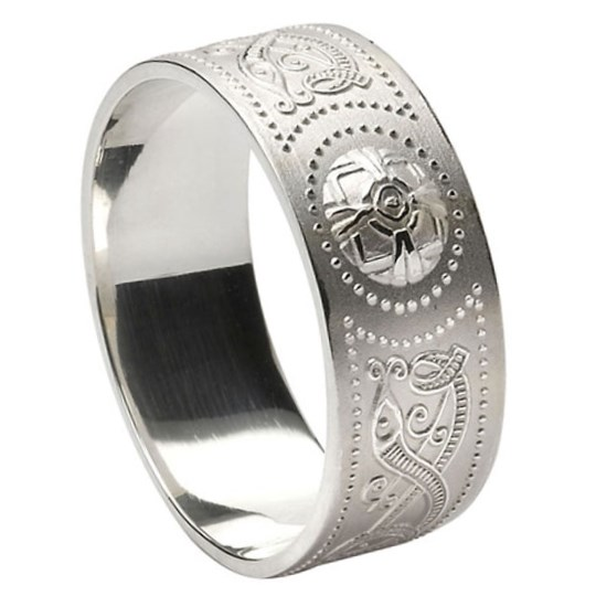 Gents Celtic Warrior Wide White Gold Wedding Band