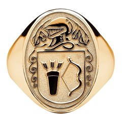 Gents Coat of Arms Oval Yellow Gold Ring