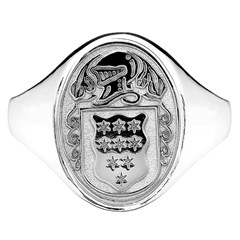 Ladies Coat of Arms Oval White Gold Ring