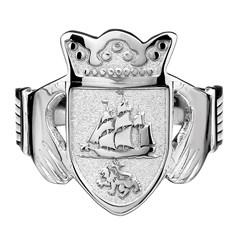 Gents Coat of Arms White Gold Claddagh Ring