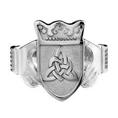 Ladies Coat of Arms White Gold Claddagh Ring