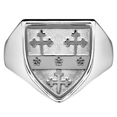 Gents Coat Of Arms Shield White Gold Ring