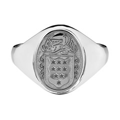 Ladies Coat of Arms Petit Oval White Gold Ring