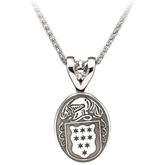 Coat of Arms Oval White Gold Pendant