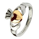 Ladies Silver Claddagh Ring with Gold Heart