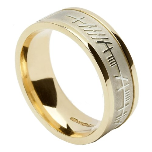 Ogham & Trinity Knot Yellow Gold Band with White Gold Center