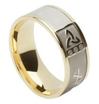 Ogham & Trinity Knot Yellow Gold Band with White Gold Center - Trinity Knot