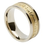 Ogham & Trinity Knot Silver Band with Yellow Gold Center