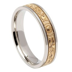 Celtic Warrior Narrow Silver Band with Yellow Gold Center
