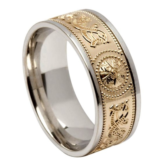 Celtic Warrior Wide Silver Band with Yellow Gold Center