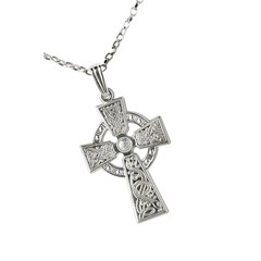 Celtic Warrior White Gold Cross