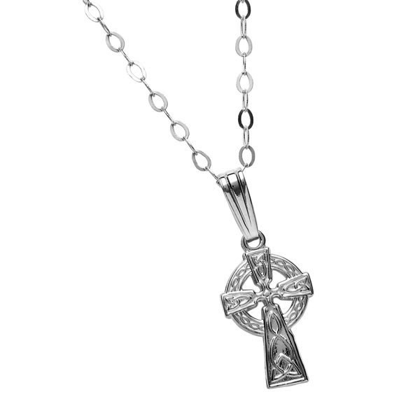 Small Traditional White Gold Celtic Cross