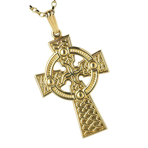 Large Traditional Yellow Gold Celtic Cross