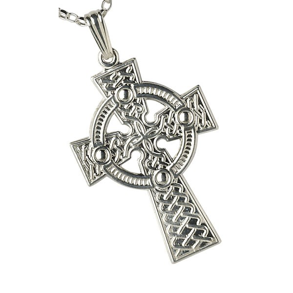 Large Traditional White Gold Celtic Cross