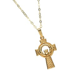Medium Claddagh Yellow Gold Cross