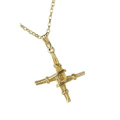 Small Saint Bridgets Yellow Gold Cross