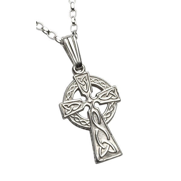 Small Two Sided White Gold Celtic Cross