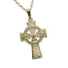 Large Two Sided Yellow Gold Celtic Cross
