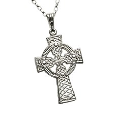 Large Two Sided White Gold Celtic Cross