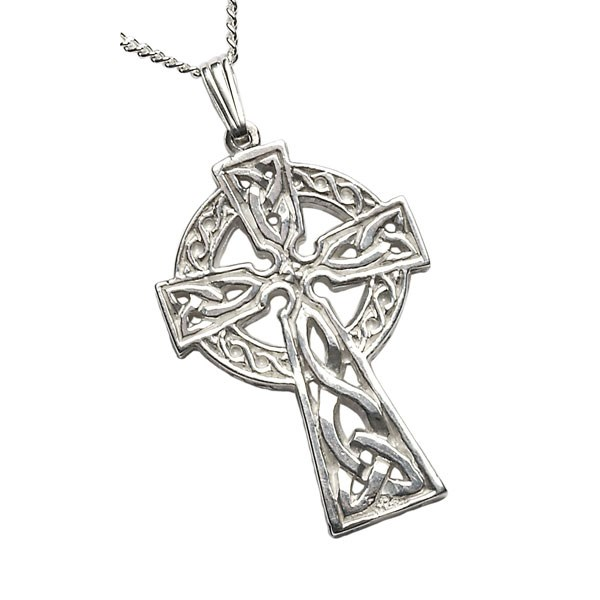 Very Large Two Sided White Gold Celtic Cross