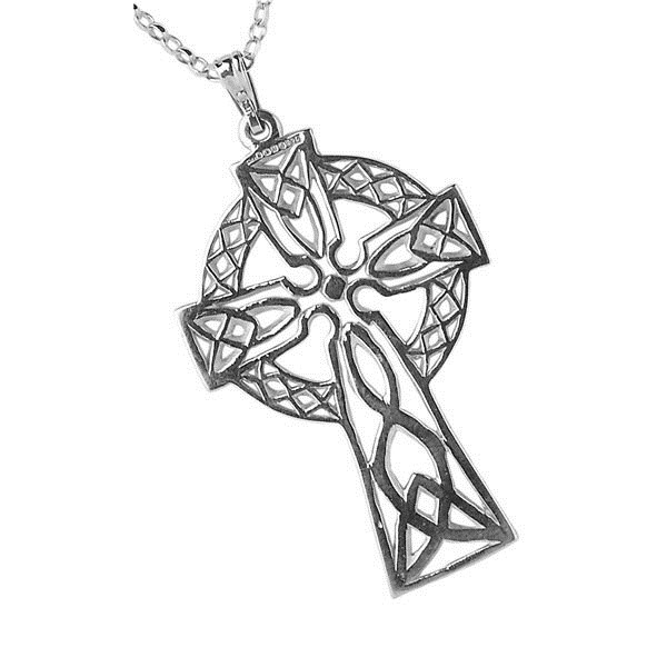 Large Filigree White Gold Celtic Cross
