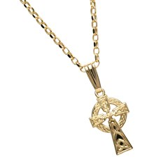 Small Double Sided Yellow Gold Celtic Cross